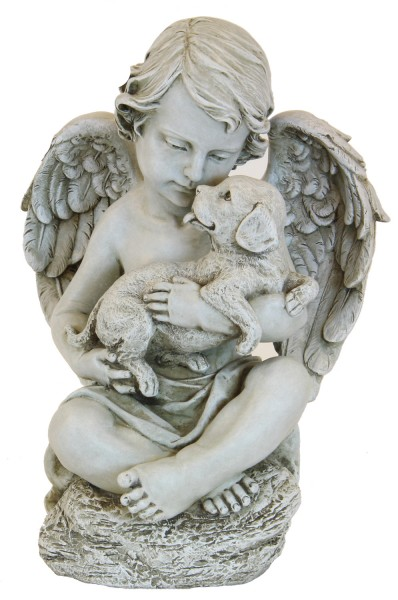 Nice Angel Cherub With Puppy Garden Statue 12 Inch   Stone