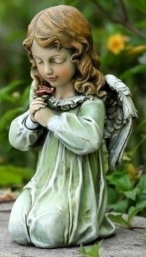 "Angel Girl Kneeling Garden Statue - 12""H - Full Color"