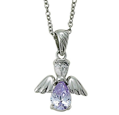 Angel Wing Birthstone Necklace - Alexandrite