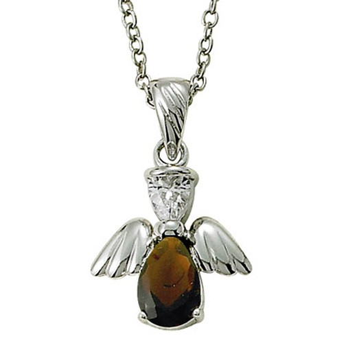 Angel Wing Birthstone Necklace - Garnet