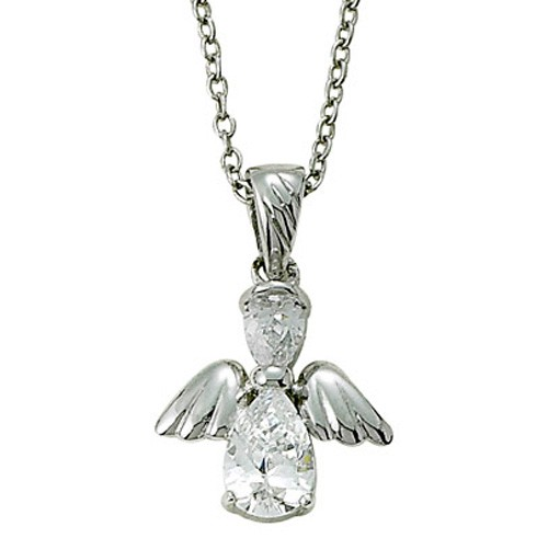 Angel Wing Birthstone Necklace - Crystal