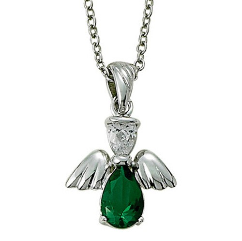 Angel Wing Birthstone Necklace - Emerald Green