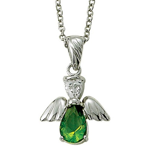 Angel Wing Birthstone Necklace - Peridot