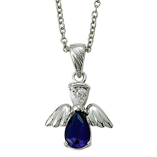 Angel Wing Birthstone Necklace - Sapphire