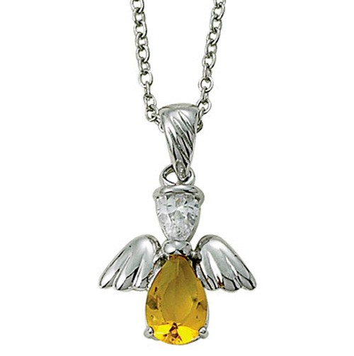 Angel Wing Birthstone Necklace - Yellow