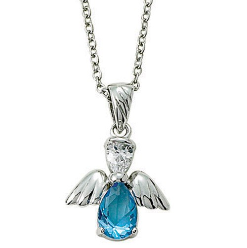 Angel Wing Birthstone Necklace - Light Blue