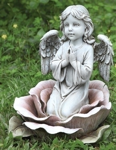 "Angel in Rose Garden Statue - 11""H - Stone"
