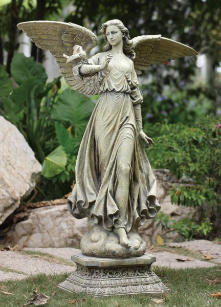 garden angel statues. Angel On Pedestal Garden Statue - 46.5\u0026quot; Statues Catholic Faith Store