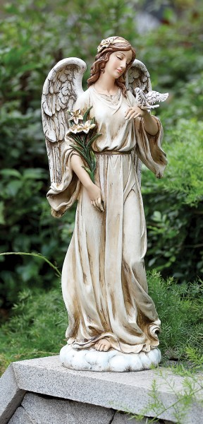 "Angel with Dove Garden Statue - 24.5"" H - Multi-Color"