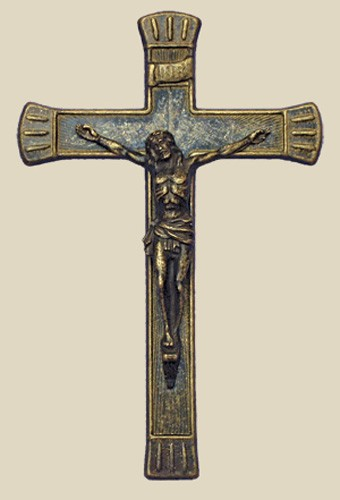 Antiqued Brass Crucifix 7 1/2 inches - Brass