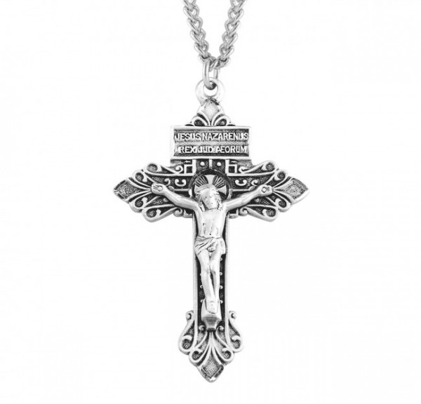 Antiqued Pardon Crucifix Necklace - Sterling Silver