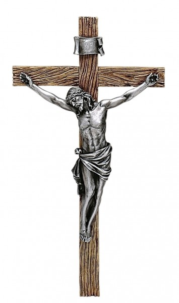 "Antiqued Silver Crucifix - 20""H - Silver-tone"