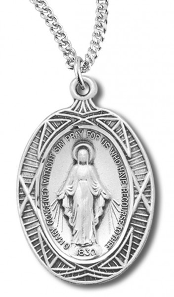 Antiqued Silver with Fancy Rays Miraculous Medal - Sterling Silver