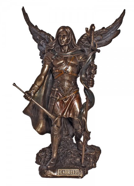 Archangel Gabriel Statue, 9 Inches - Bronze