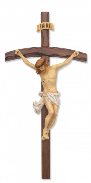Arched Shape Walnut Log Crucifix, 16 inch - Brown