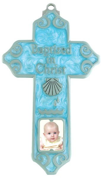 Baby Boy Blue Baptism Photo Cross - 5 inch - Blue | Silver