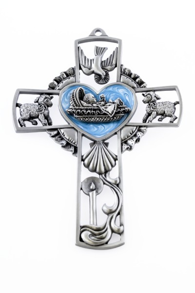 Baby Boy Blue Baptism Wall Cross - 5 inch - Blue | Silver