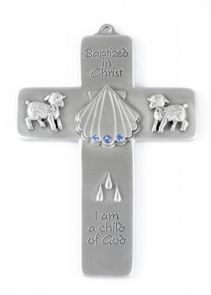 Baby Boy Blue Crystal Baptism Wall Cross - 5 inch - Silver