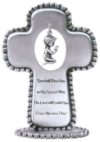 Baby Boy Pewter Standing Cross - 3 1/2 inch - Silver