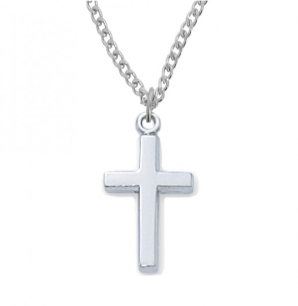 Baby Cross Pendant - Silvertone or Goldtone - Silver