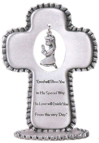 Baby Girl Pewter Standing Cross - 3 1/2 inch - Silver
