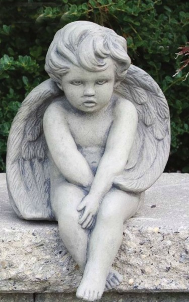 Baby Seated Angel Statue 12 Inches - Classic Sand Stone Finish