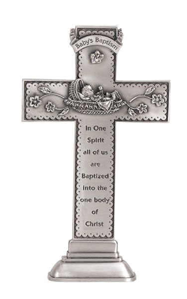 Baby's Baptism Standing Cross, White Crystal - 5 inch - Silver