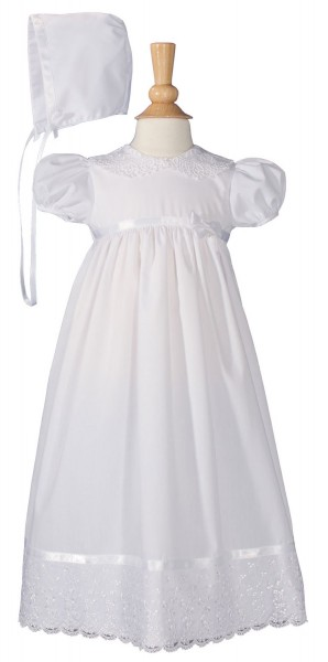 Baptism Dress with Lace Collar and Hem - White