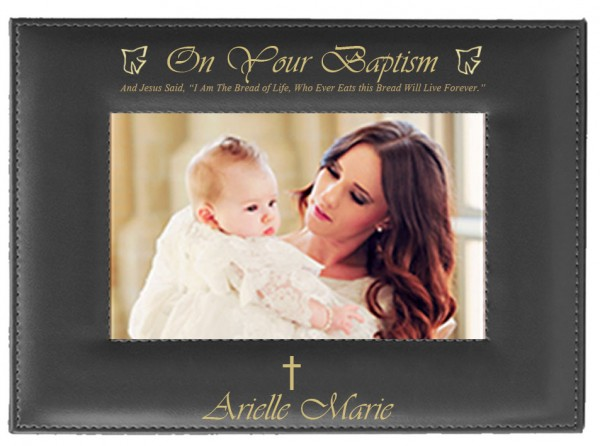 Baptism Photo Frame Personalized Horizontal - Black