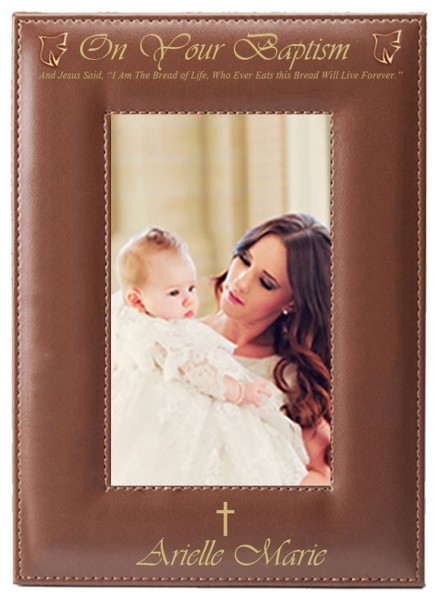 Baptism Photo Frame Personalized Vertical - Brown