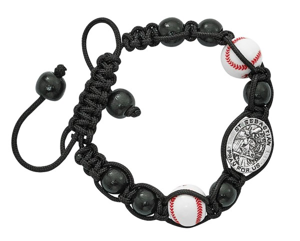 Baseball Bracelet with Saint Sebastian Medal - Black