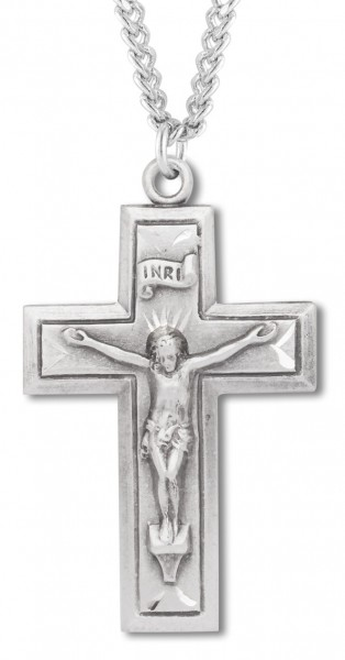 Beveled Edge Crucifix with 20 - Sterling Silver