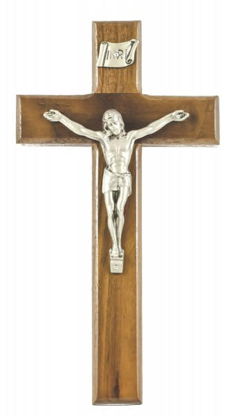 "Beveled Edge Traditional Walnut Wall Crucifix with Antique Pewter Finish Corpus 10"" - Brown"