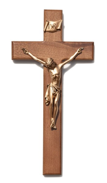 "Beveled Edge Walnut Wall Crucifix with Antique Gold Finish Corpus 12"" - Brown"