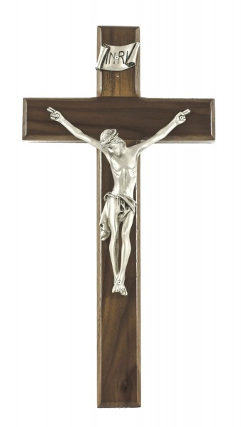 "Beveled Edge Walnut Wall Crucifix with Antique Pewter Finish Corpus 12"" - Brown"