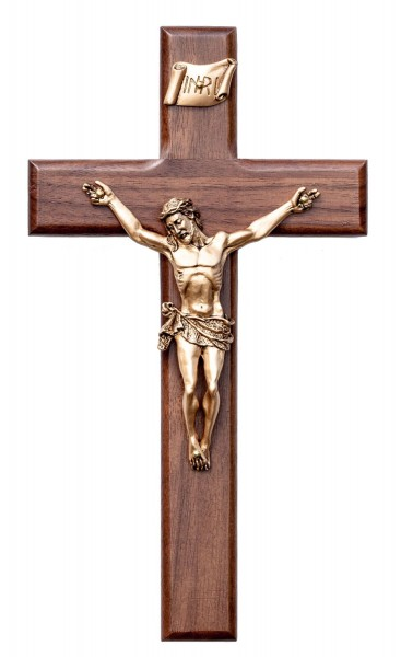 Beveled Edge Walnut Wall Crucifix with INRI Plaque Antique Gold Finish Corpus 8 - Brown