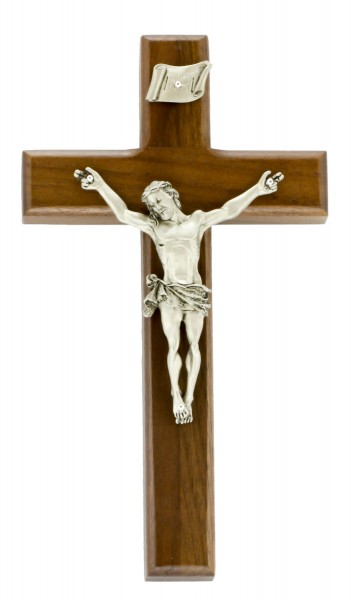 "Beveled Edge Walnut Wall Crucifix with INRI Plaque Antique Pewter Finish Corpus 8"" - Brown"