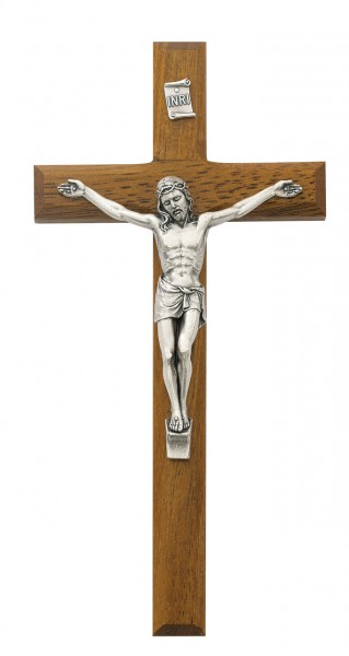 Beveled Walnut Stained Wood Crucifix with Silver-Tone Corpus 8 Inch - Brown