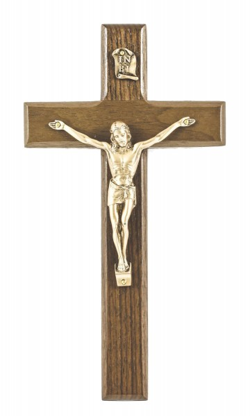 "Beveled Walnut Wall Crucifix with Antique Gold Corpus 8"" - Brown"