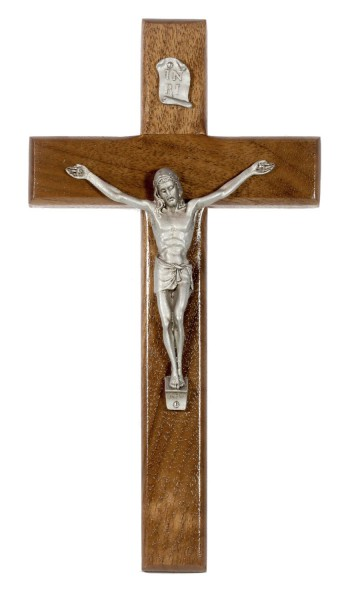 "Beveled Walnut Wall Crucifix with Antique Pewter Corpus 8"" - Brown"