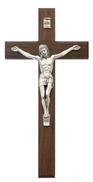 Beveled Walnut With Silver tone Crucifix, 10 Inch - Brown