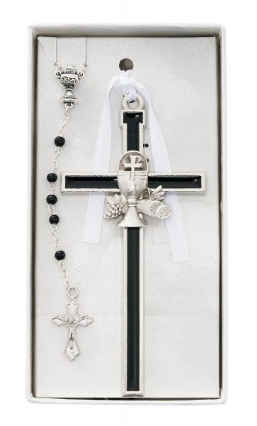 Black Enamel First Communion Wall Cross and Rosary - Black