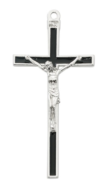 Black Enamel and Silver Tone Wall Cross 5 Inches - Black