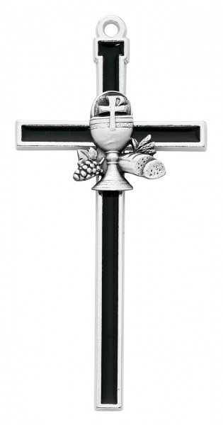 Black First Communion Wall Cross 5 inch - Black | Silver