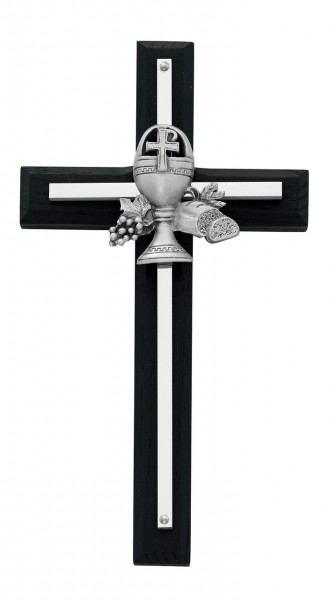 Black First Communion Wall Cross 7 inch - Black | Silver