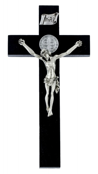 "Black Stained Walnut Wide Cross St Benedict Wall Crucifix 8"" - Black"