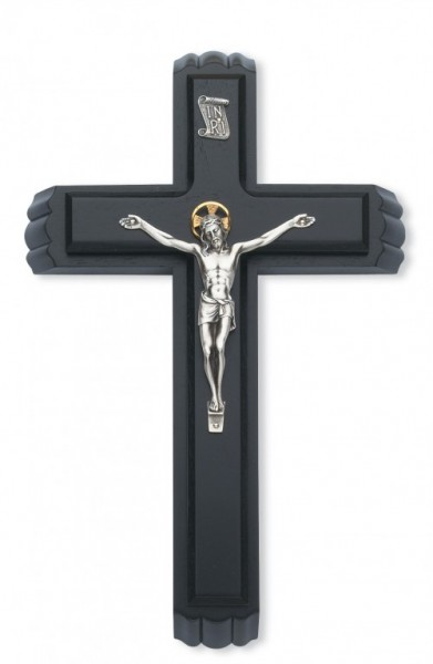 "Black Wood Sick Call Crucifix Set with Two-Tone Corpus - 11""H - Black"
