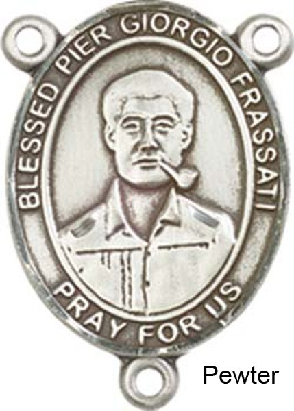 Blessed Pier Giorgio Frassati Rosary Centerpiece Sterling Silver or Pewter - Pewter