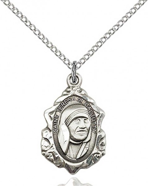 St. Teresa of Calcutta with Fancy Edge Medal - Sterling Silver