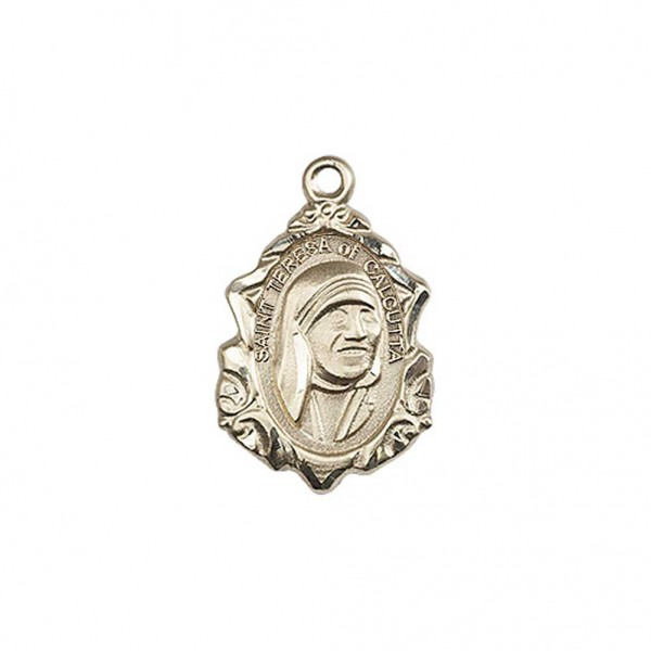 St. Teresa of Calcutta with Fancy Edge Medal - 14K Solid Gold